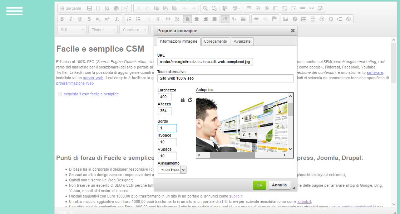 panello amministrativo di facile e semplice csm inserire un immagine in una pagina