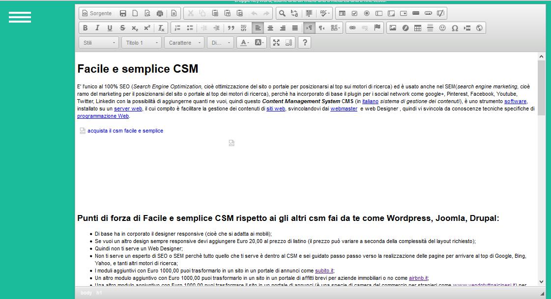 panello amministrativo di facile e semplice csm creare un nuova pagina