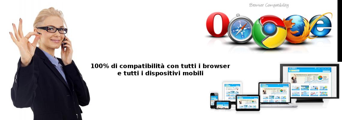 Al 100% di compatibilità con tutti i browser e tutti i dispositivi mobili
